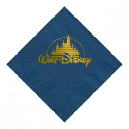 Marine Blue Foil Stamped 3 Ply Colored Beverage Napkin