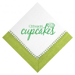 Sherbert Green 3-Ply Pattern Beverage Napkin