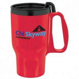 Sunset Red 15 oz. Budget Traveler(TM) Mug with Slider Lid