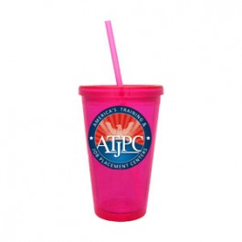 Magenta 16oz Acrylic Double Wall Chiller Cup & Straw - Full Color