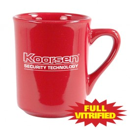 Red 8 1/2 oz Red Vitrified Diner Ceramic Coffee Mug