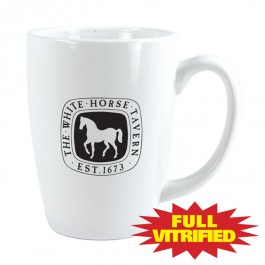 White 14 1/2 oz Vitrified Restaurant White Ceramic Coffee Mug