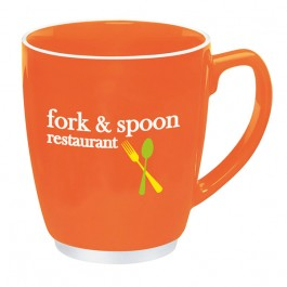 Orange 16 oz. Large Red or Orange Bistro w/ Accent Coffee Mug