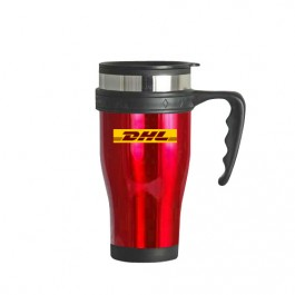 Red / Black 16 oz Contour Stainless Steel Travel Mug