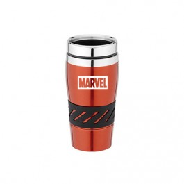 Red / Silver 16 oz Stainless Steel Double-Wall Tumbler with Rubber Grip