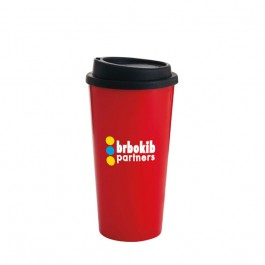 Red 13 oz. Double Wall PP Tumbler with Black Lid