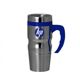 Silver / Blue 16 oz Highlight Stainless Steel Travel Mug