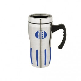 Silver / Blue 16 oz Comfort Grip Stainless Steel Double-Wall Mug