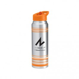 Silver / Orange 32 oz Striped Aluminum Water Bottle