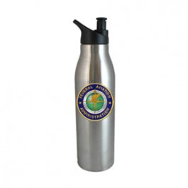 Stainless / Black 20oz Double Wall Stainless Steel Water Bottle FCP