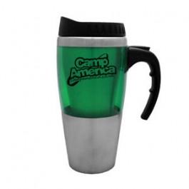 Stainless / Green 16oz Acrylic Band Travel Mug