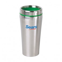 Stainless / Green 16 oz Accent Lid Tumbler