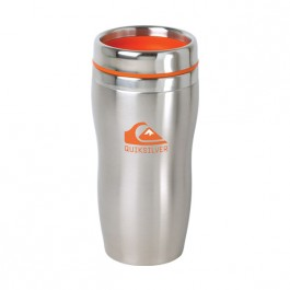 Stainless / Orange 16 oz Accent Lid Tapered SS Tumbler