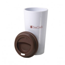 White / Brown 16 oz To-Go Tumbler