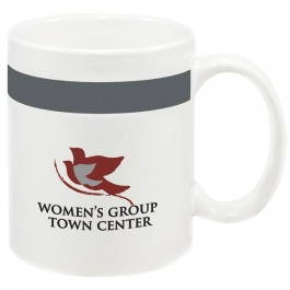 White / Grey 10 oz. Color Stripe Ceramic Coffee Mug