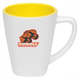 White / Yellow 12 oz. Two-Tone Square Ceramic Coffee Mug