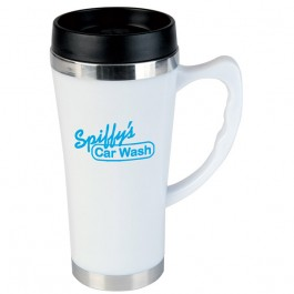 White 16 oz. Hudson Travel Coffee Mug