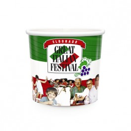 White 16 oz Hot Food Paper Container - Full Color