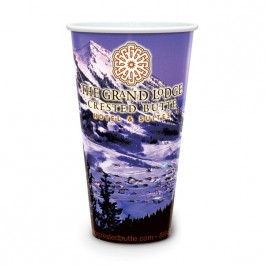 White 32 oz Reusable White Plastic Cup - Full Color