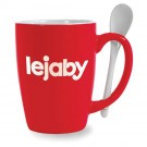 16 oz Mete Red Vitrified Ceramic Mug with Spoon