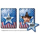 3.5 x 4.5 Round Corner Picture Frame Magnet - Star Punch out