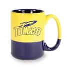 13 1/2 oz Varsity Vitrified Ceramic Coffee Mug - Yellow / Cobalt